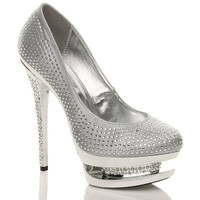 Front right side view of Silver Satin High Heel Sparkly Diamante Platform Court Shoes