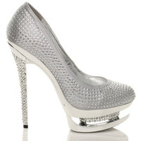 Right side view of Silver Satin High Heel Sparkly Diamante Platform Court Shoes