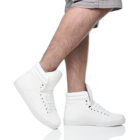 Model wearing White PU Flat Lace Up Hi-Top Trainers Ankle Boots