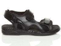 Right side view of Black Flat Leather Hook & Loop Adjustable Sandals