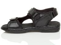 Left side view of Black Flat Leather Hook & Loop Adjustable Sandals