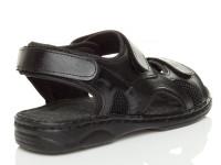 Back right side view of Black Flat Leather Hook & Loop Adjustable Sandals