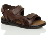 Front right side view of Brown Flat Leather Hook & Loop Adjustable Sandals