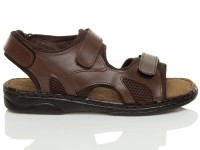 Right side view of Brown Flat Leather Hook & Loop Adjustable Sandals