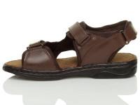 Left side view of Brown Flat Leather Hook & Loop Adjustable Sandals