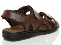 Back right side view of Brown Flat Leather Hook & Loop Adjustable Sandals