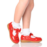 Model wearing Red Patent Flat Butterfly Bow T-Bar Mary Jane Shoes