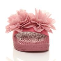 Front view of Pink Flatform Flower Platform Sandals Sliders Flip Flops