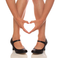 Closeup view of features of Black PU Mid Heel Mary Jane Heart Cut Out Court Shoes