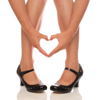 Closeup view of features of Black Patent Mid Heel Mary Jane Heart Cut Out Court Shoes