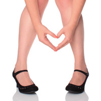 Closeup view of features of Black Suede Mid Heel Mary Jane Heart Cut Out Court Shoes