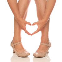 Closeup view of features of Nude Patent Mid Heel Mary Jane Heart Cut Out Court Shoes