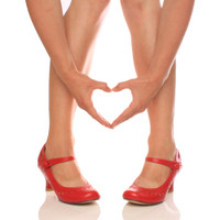 Closeup view of features of Red PU Mid Heel Mary Jane Heart Cut Out Court Shoes