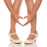Closeup view of features of White PU Mid Heel Mary Jane Heart Cut Out Court Shoes