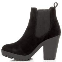 Left side view of Black Suede High Heel Platform Chelsea Ankle Boots