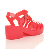Back right side view of Coral Mid Heel Gladiator Jelly Sandals