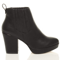 Right side view of Black PU High Block Heel Chelsea Ankle Boots