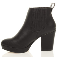Left side view of Black PU High Block Heel Chelsea Ankle Boots