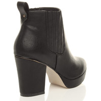 Back right side view of Black PU High Block Heel Chelsea Ankle Boots