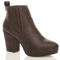 Front right side view of Brown PU High Block Heel Chelsea Ankle Boots
