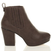 Right side view of Brown PU High Block Heel Chelsea Ankle Boots