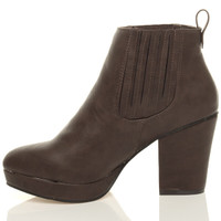 Left side view of Brown PU High Block Heel Chelsea Ankle Boots