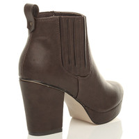 Back right side view of Brown PU High Block Heel Chelsea Ankle Boots