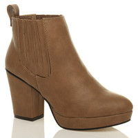 Front right side view of Tan PU High Block Heel Chelsea Ankle Boots
