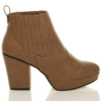 Right side view of Tan PU High Block Heel Chelsea Ankle Boots