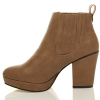 Left side view of Tan PU High Block Heel Chelsea Ankle Boots