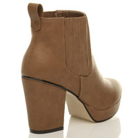 Back right side view of Tan PU High Block Heel Chelsea Ankle Boots