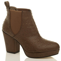 Front right side view of Tan Studded PU High Block Heel Chelsea Ankle Boots