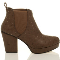 Right side view of Tan Studded PU High Block Heel Chelsea Ankle Boots