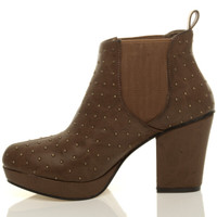 Left side view of Tan Studded PU High Block Heel Chelsea Ankle Boots