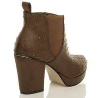 Back right side view of Tan Studded PU High Block Heel Chelsea Ankle Boots