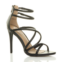 Front right side view of Black PU High Heel Strappy Crossover Barely There Sandals