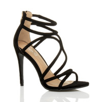 Front right side view of Black Suede High Heel Strappy Crossover Barely There Sandals