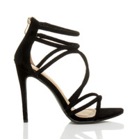 Right side view of Black Suede High Heel Strappy Crossover Barely There Sandals