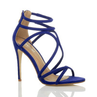 Front right side view of Blue Suede High Heel Strappy Crossover Barely There Sandals