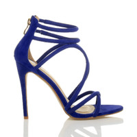 Right side view of Blue Suede High Heel Strappy Crossover Barely There Sandals