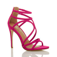 Front right side view of Fuchsia Pink Suede High Heel Strappy Crossover Barely There Sandals