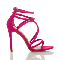 Right side view of Fuchsia Pink Suede High Heel Strappy Crossover Barely There Sandals
