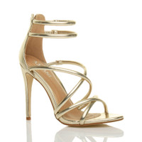 Front right side view of Gold PU High Heel Strappy Crossover Barely There Sandals