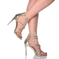 Model wearing Gold PU High Heel Strappy Crossover Barely There Sandals