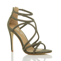 Front right side view of Khaki Suede High Heel Strappy Crossover Barely There Sandals