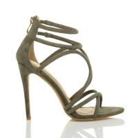 Right side view of Khaki Suede High Heel Strappy Crossover Barely There Sandals