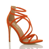 Front right side view of Orange Suede High Heel Strappy Crossover Barely There Sandals