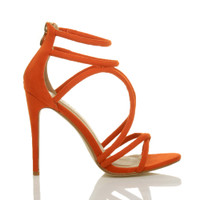 Right side view of Orange Suede High Heel Strappy Crossover Barely There Sandals