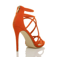 Back right side view of Orange Suede High Heel Strappy Crossover Barely There Sandals