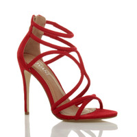 Front right side view of Red Suede High Heel Strappy Crossover Barely There Sandals